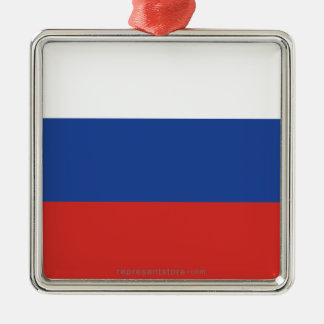 Russia Plain Flag Metal Ornament