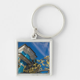 Russia, Pushkin. Gate detail and support tower Silver-Colored Square Keychain
