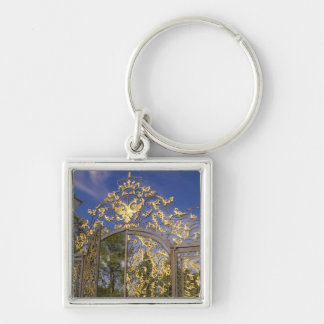 Russia, Pushkin. Gate detail and support towers Silver-Colored Square Keychain