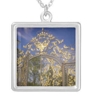 Russia, Pushkin. Gate detail and support towers Silver Plated Necklace