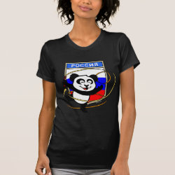 Women's American Apparel Fine Jersey Short Sleeve T-Shirt with Russia Rhythmic Gymnastics Panda design