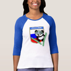 Ladies Raglan Fitted T-Shirt with Russian Ski-jumping Panda design