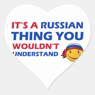 Russia Smiley Designs Heart Sticker