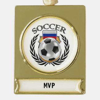 Russia Soccer 2016 Fan Gear Gold Plated Banner Ornament