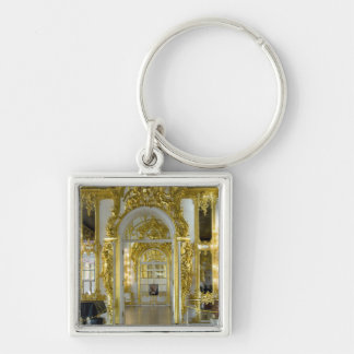 Russia, St. Petersburg, Catherine's Palace (aka 12 Silver-Colored Square Keychain
