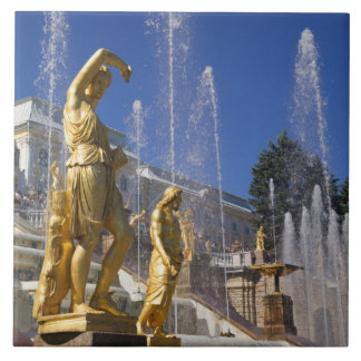 Russia, St. Petersburg, Golden statues in the Ceramic Tile