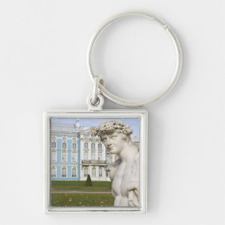 Russia, St. Petersburg, Pushkin, Catherine's 3 Silver-Colored Square Keychain