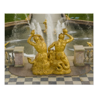 Russia, St. Petersburg. Samson fountain at Poster