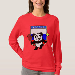 Women's Basic Long Sleeve T-Shirt with Russian Tennis Panda design