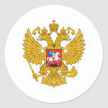 Russia Two Headed Eagle Round Stickers