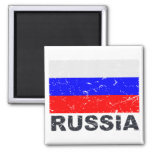 Russia Vintage Flag 2 Inch Square Magnet