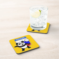 Beverage Coaster with Russian Volleyball Panda design