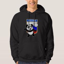 Men's Basic Hooded Sweatshirt with Russian Volleyball Panda design