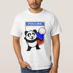Men's Crew Value T-Shirt with Russian Volleyball Panda design
