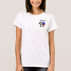 Women's Basic T-Shirt with Russian Volleyball Panda design