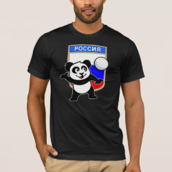 Men's Basic American Apparel T-Shirt with Russian Volleyball Panda design
