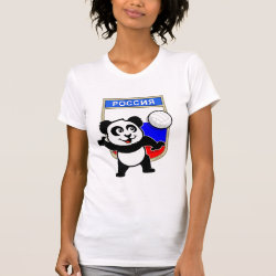 Women's American Apparel Fine Jersey Short Sleeve T-Shirt with Russian Volleyball Panda design