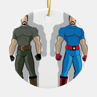 Russia vs USA Military Heroes Ceramic Ornament
