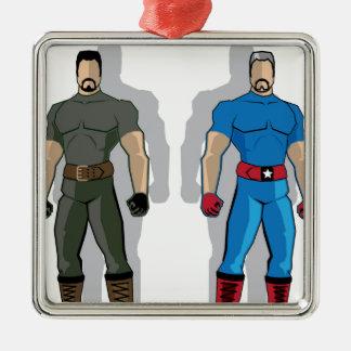 Russia vs USA Military Heroes Metal Ornament