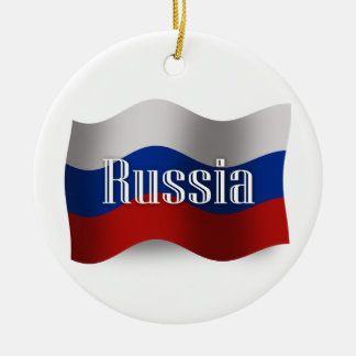 Russia Waving Flag Ceramic Ornament