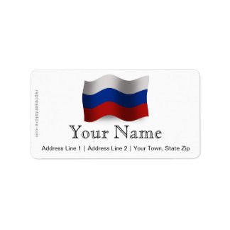 Russia Waving Flag Label
