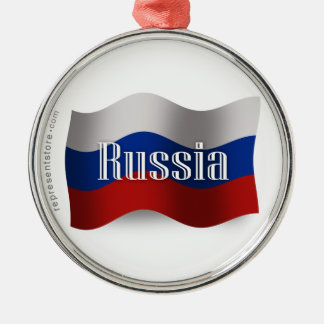 Russia Waving Flag Metal Ornament