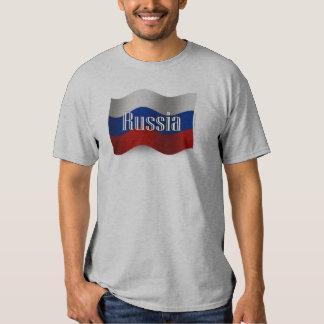 Russia Waving Flag Tee Shirt