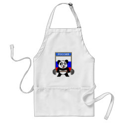 Apron with Russian Weightlifting Panda design