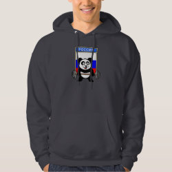 Men's Basic Hooded Sweatshirt with Russian Weightlifting Panda design