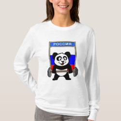 Women's Basic Long Sleeve T-Shirt with Russian Weightlifting Panda design