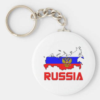 Russia With Crest Basic Round Button Keychain