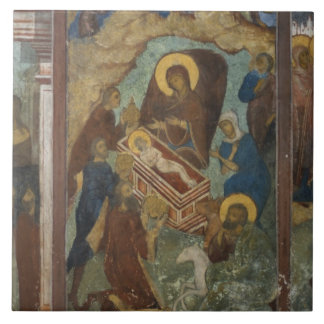 Russia, Yaroslavl, fresco in Cathedral of St. 2 Large Square Tile