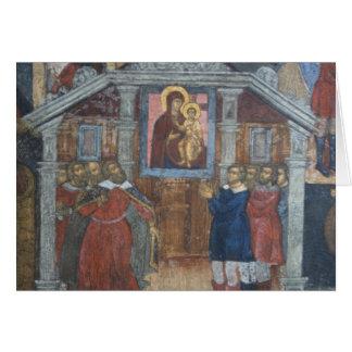 Russia, Yaroslavl, fresco in Cathedral of St. Card