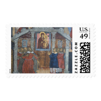 Russia, Yaroslavl, fresco in Cathedral of St. Postage Stamp