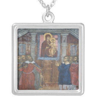 Russia, Yaroslavl, fresco in Cathedral of St. Silver Plated Necklace