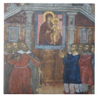 Russia, Yaroslavl, fresco in Cathedral of St. Tile