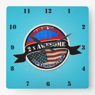 Russian American 2x Awesome Square Wall Clock