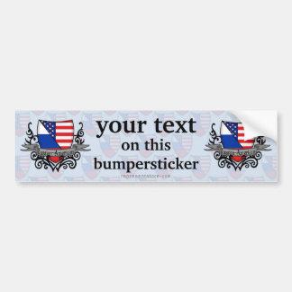 Russian-American Shield Flag Car Bumper Sticker
