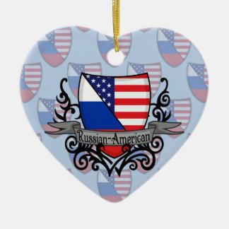 Russian-American Shield Flag Ceramic Ornament