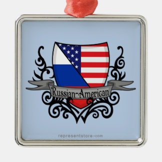 Russian-American Shield Flag Metal Ornament