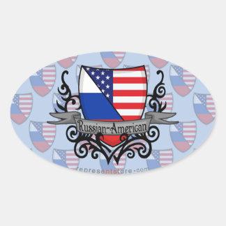 Russian-American Shield Flag Oval Sticker