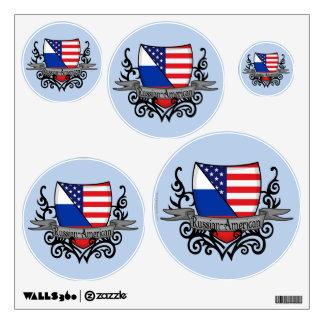 Russian-American Shield Flag Wall Sticker
