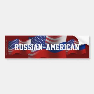 Russian-American Waving Flag Car Bumper Sticker