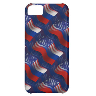 Russian-American Waving Flag Cover For iPhone 5C
