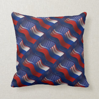Russian-American Waving Flag Throw Pillow