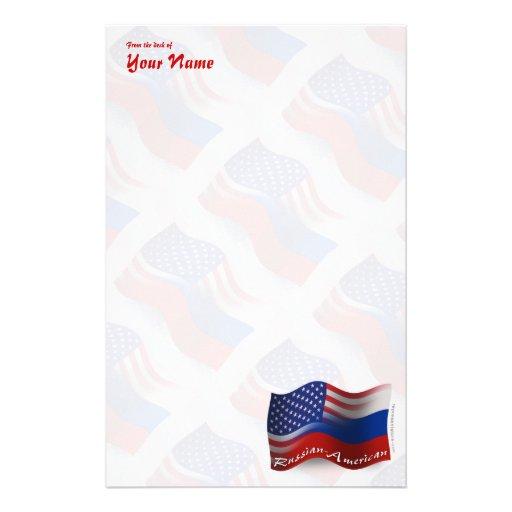 Russian-American Waving Flag Stationery Design