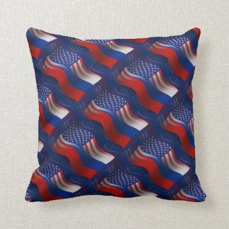 Russian-American Waving Flag Throw Pillow