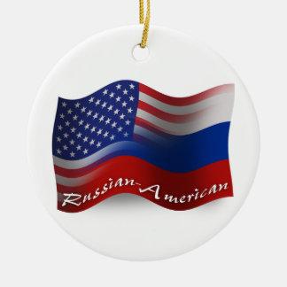 Russian-American Waving Flags Ceramic Ornament