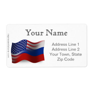 Russian-American Waving Flags Label
