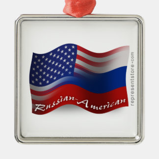 Russian-American Waving Flags Metal Ornament